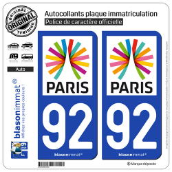 2 Autocollants plaque immatriculation Auto 92 Île-de-France - Paris Région