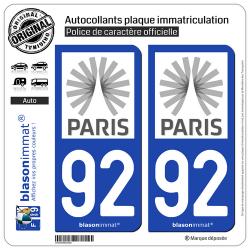 2 Autocollants plaque immatriculation Auto 92 Île-de-France - Tourisme