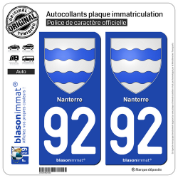 2 Autocollants plaque immatriculation Auto 92 Nanterre - Armoiries