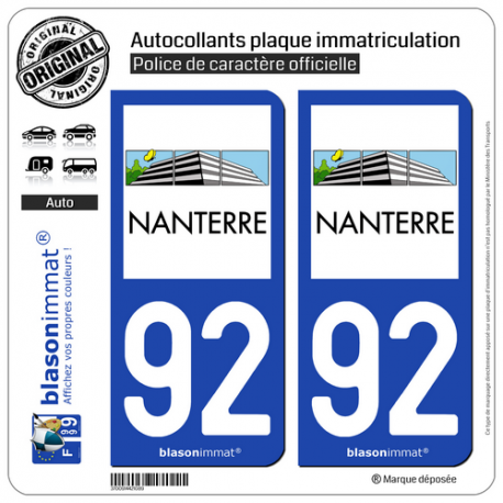 2 Autocollants plaque immatriculation Auto 92 Nanterre - Ville