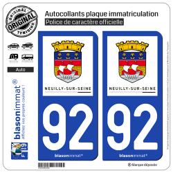 2 Autocollants plaque immatriculation Auto 92 Neuilly-sur-Seine - Ville