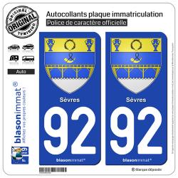 2 Autocollants plaque immatriculation Auto 92 Sèvres - Armoiries
