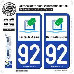 2 Autocollants plaque immatriculation Auto 92 Hauts-de-Seine - Tourisme
