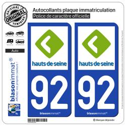 2 Autocollants plaque immatriculation Auto 92 Hauts-de-Seine - Département
