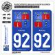 2 Autocollants plaque immatriculation Auto 92 Antony - Armoiries