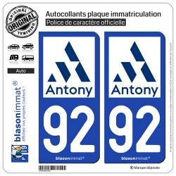 2 Autocollants plaque immatriculation Auto 92 Antony - Ville