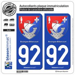 2 Autocollants plaque immatriculation Auto 92 Boulogne-Billancourt - Armoiries