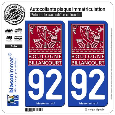2 Autocollants plaque immatriculation Auto 92 Boulogne-Billancourt - Ville