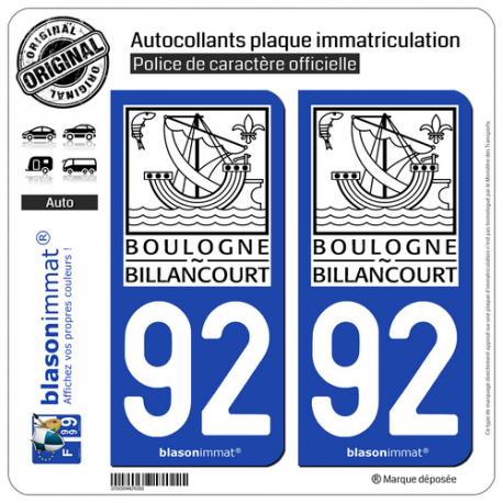 2 Autocollants plaque immatriculation Auto 92 Boulogne-Billancourt - Ville II