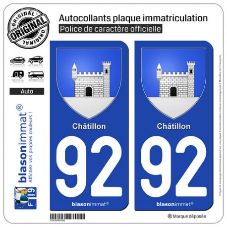 2 Autocollants plaque immatriculation Auto 92 Châtillon - Armoiries
