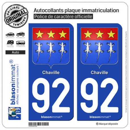 2 Autocollants plaque immatriculation Auto 92 Chaville - Armoiries