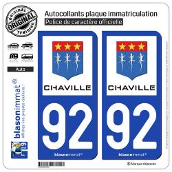 2 Autocollants plaque immatriculation Auto 92 Chaville - Ville