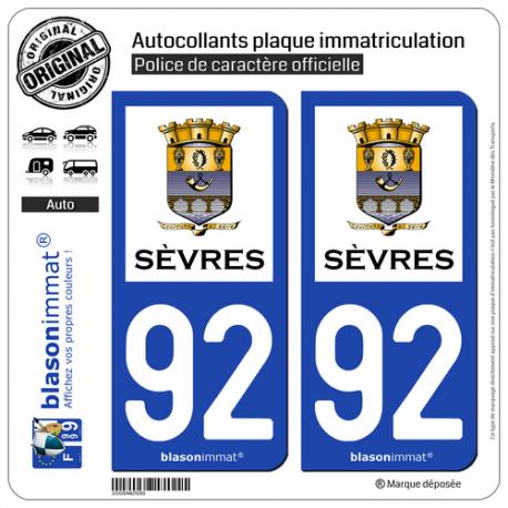 2 Autocollants plaque immatriculation Auto 92 Sèvres - Ville