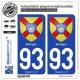2 Autocollants plaque immatriculation Auto 93 Bobigny - Armoiries