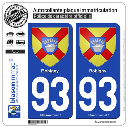 2 Autocollants plaque immatriculation Auto 93 Bobigny - Armoiries