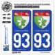 2 Autocollants plaque immatriculation Auto 93 Clichy-sous-Bois - Armoiries