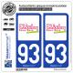 2 Autocollants plaque immatriculation Auto 93 Clichy-sous-Bois - Ville