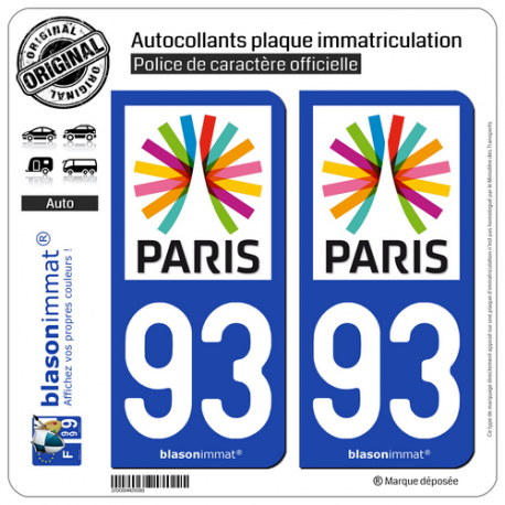 2 Autocollants plaque immatriculation Auto 93 Île-de-France - Paris Région