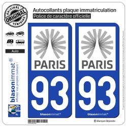2 Autocollants plaque immatriculation Auto 93 Île-de-France - Tourisme