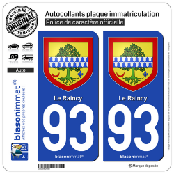 2 Autocollants plaque immatriculation Auto 93 Raincy - Armoiries