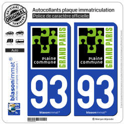 2 Autocollants plaque immatriculation Auto 93 Saint-Denis - Agglo