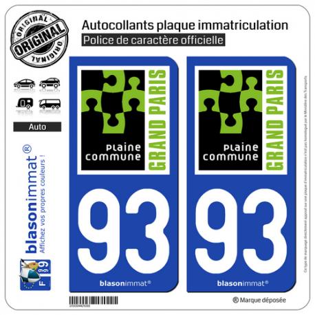2 Autocollants plaque immatriculation Auto 93 Saint-Denis - Agglo