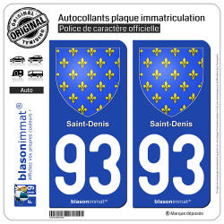 2 Autocollants plaque immatriculation Auto 93 Saint-Denis - Armoiries