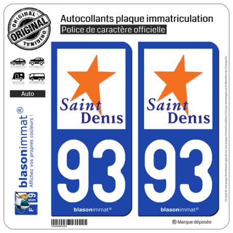 2 Autocollants plaque immatriculation Auto 93 Saint-Denis - Ville