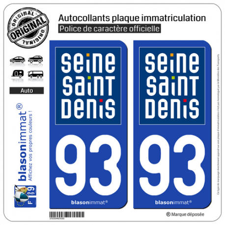 2 Autocollants plaque immatriculation Auto 93 Seine-Saint-Denis - Département