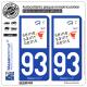 2 Autocollants plaque immatriculation Auto 93 Seine-Saint-Denis - Tourisme