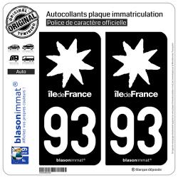 2 Autocollants plaque immatriculation Auto 93 Île de France - LogoType Black