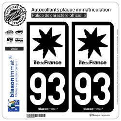 2 Autocollants plaque immatriculation Auto 93 Île de France - LogoType N&B