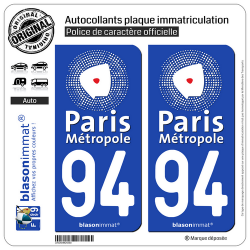 2 Autocollants plaque immatriculation Auto 94 Créteil - Agglo