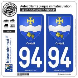 2 Autocollants plaque immatriculation Auto 94 Créteil - Armoiries
