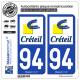 2 Autocollants plaque immatriculation Auto 94 Créteil - Ville