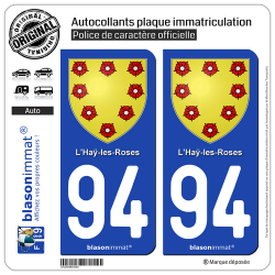 2 Autocollants plaque immatriculation Auto 94 Haÿ-les-Roses - Armoiries