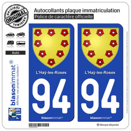 2 Autocollants plaque immatriculation Auto 94 Haÿ-les-Roses - Armoiries