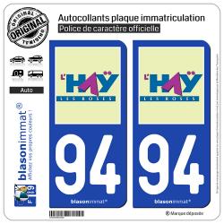 2 Autocollants plaque immatriculation Auto 94 Haÿ-les-Roses - Ville
