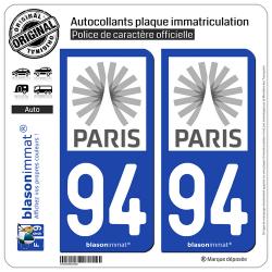 2 Autocollants plaque immatriculation Auto 94 Île-de-France - Tourisme