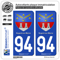 2 Autocollants plaque immatriculation Auto 94 Nogent-sur-Marne - Armoiries