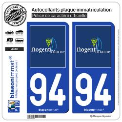 2 Autocollants plaque immatriculation Auto 94 Nogent-sur-Marne - Tourisme