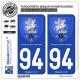 2 Autocollants plaque immatriculation Auto 94 Villeneuve-St-Georges - Armoiries