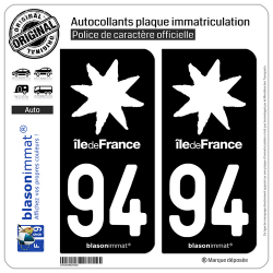2 Autocollants plaque immatriculation Auto 94 Île de France - LogoType Black