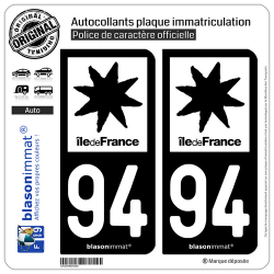 2 Autocollants plaque immatriculation Auto 94 Île de France - LogoType N&B