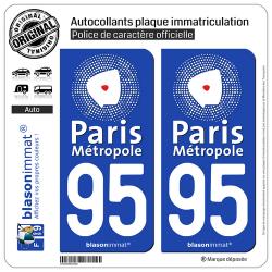 2 Autocollants plaque immatriculation Auto 95 Argenteuil - Agglo