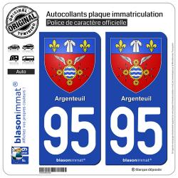 2 Autocollants plaque immatriculation Auto 95 Argenteuil - Armoiries