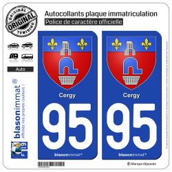 2 Autocollants plaque immatriculation Auto 95 Cergy - Armoiries