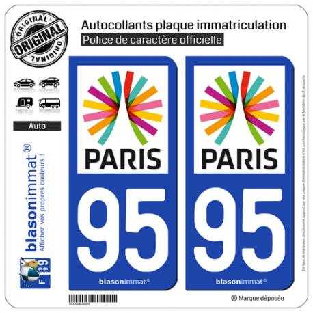 2 Autocollants plaque immatriculation Auto 95 Île-de-France - Paris Région