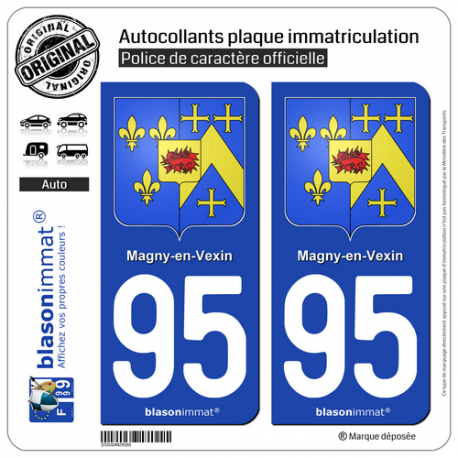 2 Autocollants plaque immatriculation Auto 95 Magny-en-Vexin - Armoiries
