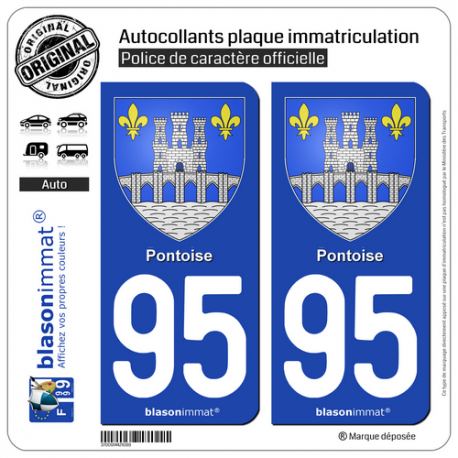 2 Autocollants plaque immatriculation Auto 95 Pontoise - Armoiries